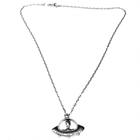 I Want To Believe Alien Flying Saucer necklace