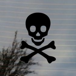 Skull and Crossbones Pirate Jolly Rogers Symbol Alternate Vinyl Decal