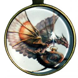 Steampunk Dragon Pendant and 16 Inch Alloy Chain Necklace