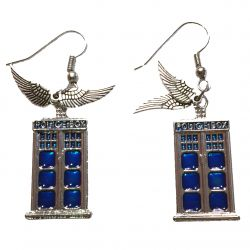 Police Box Angel Wings Earrings