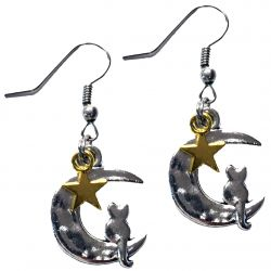 Lunar Cat Star Earrings