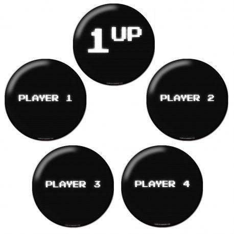 Gamer Players 1UP Pinback Button Badge Set Bundle