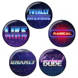 Retro 80s Synthwave Pinback Button Badge Set Bundle