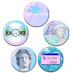 Vaporwave Aesthetic Pinback Button Badge Set Bundle