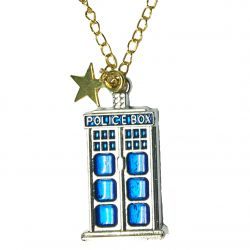 Police Box Gold Star Necklace with Gold Tone Chain