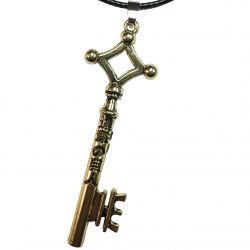Titan Anime Key Pendant with Faux Leather Cord Necklace