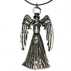 Weeping Angel Double Sided Science Fiction Doctor Pendant with 18 inch Faux Leather Cord Necklace