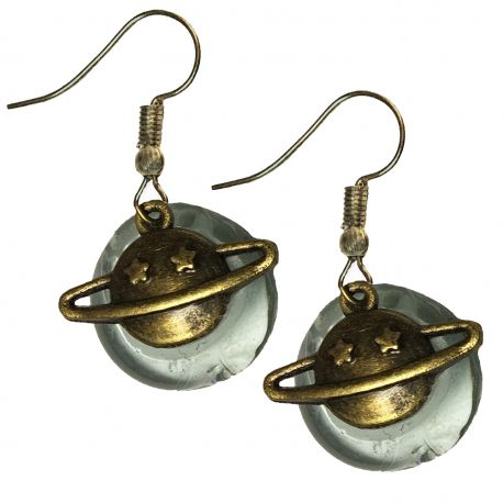 Bronze tone Saturn Planet and Stone Galaxy Astronomy Space Earrings