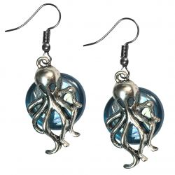 Cluthu Squid and small stone Gothic Pendant Earrings