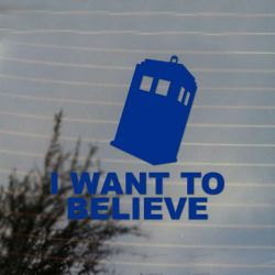 Police Box I Want to Believe Vinyl Decal Sticker (FREE US Shipping) (For car, laptop, tablets etc)
