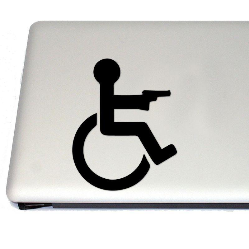 Handicap Bathroom Comedy gun owner vinyl decal sticker (free us shipping) (for car, laptop