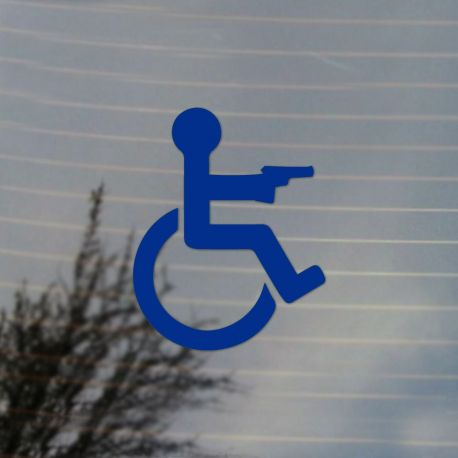 Handicap Gun Owner Vinyl Decal Sticker (FREE US Shipping) (For car, laptop, tablets etc)
