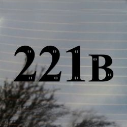 221B Sherlock Holmes Vinyl Decal Sticker (FREE US Shipping) (For car, laptop, tablets etc)