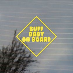 Buff Baby On Board Adventure Cartoon Vinyl Decal Sticker (FREE US Shipping) (For car, laptop, tablets etc)
