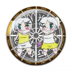 Original Chibi Horoscope Zodiac Gemini Button Badge