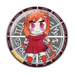 Original Chibi Horoscope Zodiac Leo Button Badge