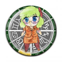 Original Chibi Horoscope Zodiac Virgo Button Badge
