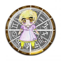 Original Chibi Horoscope Zodiac Libra Button Badge