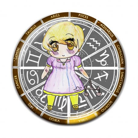 Original Chibi Horoscope Zodiac Libra Button Badge