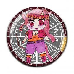 Original Chibi Horoscope Zodiac Sagittarius Button Badge