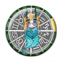 Original Chibi Horoscope Zodiac Capricorn Button Badge