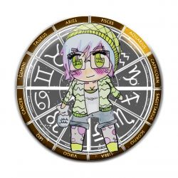 Original Chibi Horoscope Zodiac Aquarius Button Badge