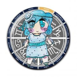 Original Chibi Horoscope Zodiac Pisces Button Badge