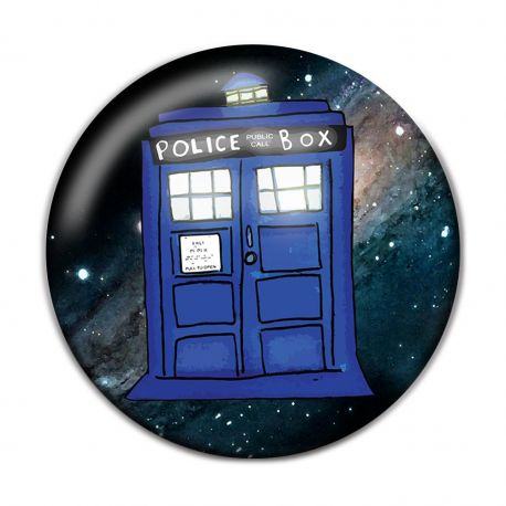 Kawaii Police Box Pinback Button Badge