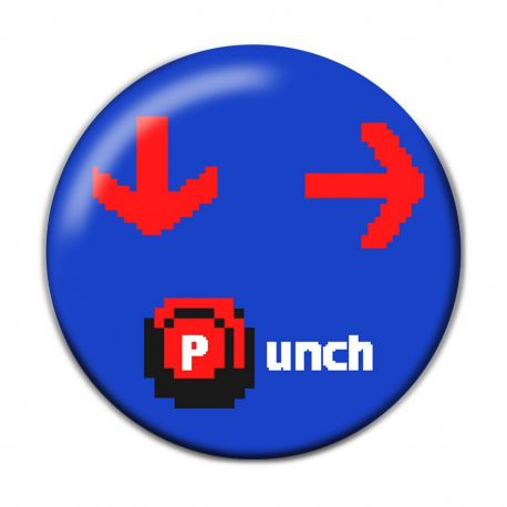 Down Forward Punch Pinback Button Badge