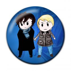 Chibi Anime Sherlock and Watson Button Badge