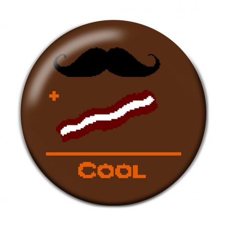 Mustache plus Bacon equals Cool Pinback Button Badge