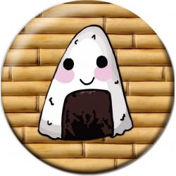 Kawaii Onigiri Rice Ball Pinback Button Badge