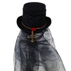 Gothic Vampiress Mini Top Hat (Vampire Themed Decorative Hat)
