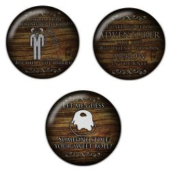 Adventurer Gaming Sweet Roll Pinback Button Badge Bundle